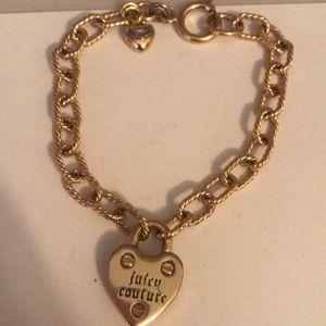VGUC Juicy Couture gold locket/heart bracelet